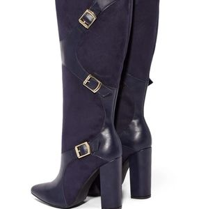 #NWT- SIZE 7.5 FAUX LEATHER POINTED TOE BLOCK HEELP BOOT W/ BUCKLE DETAIL